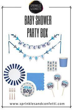 Buy this box as a set or shop our It's a Boy Baby shower collection for your baby blue & navy baby shower plates, napkins, and more to spoil mom-to-be and celebrate your next baby shower in style. Navy Baby Showers, Gender Neutral Baby Shower, Baby Boy Shower, Baby Shower Party Supplies, Baby Shower Favors, Baby Shower Plates, Party In A Box, Pregnancy, Baby Blue