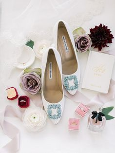 wedding shoes comfortable Brides Manolo Blahnik wedding shoes, weddings rings in pink and burgundy boxes from The Mrs. Box, and custom white vow book with loose florals from Bride amp; Wedding Shoes Bride, White Wedding Shoes, Wedding Stuff, Manolo Blahnik, Alternative Wedding Shoes, Shine Wedding Invitations, Bridal Heels, Couture Shoes, Wedding Dress Trends