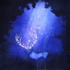 Oeuvre: Cerf de nuit de Jeremie Baldocchi Artiste Peintre Contemporain Figuratif Français (73 x 60 cm)