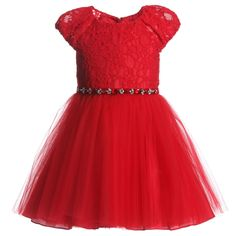 David Charles girls rich red dress with lace bodice, gathered sleeves and a tulle skirt. It is trimmed with a velvet ribbon jewel encrusted belt which ties in a bow at the back and has a full silky soft lining.<br /> <ul> <li>Bodice: 45% nylon, 55% cotton<br /></li> <li>Skirt: 100% nylon tulle netting</li> <li>Lining: 100% acetate (silky soft)</li> <li>Dry clean</li> <li>Made in England </li> </ul>