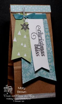 """stampercamper.com - It's the end of Create with Connie and Mary Holiday Card """"Create""""tions and on Saturday the Design Team each shares a small 3D that matches their set.  This week each designer used the new Cafe' Gift Bag.  We have a blog hop sharing these fun bag!  For more details on my bag or to start the hop check out my blog.  Set:  Christmas Bliss"""