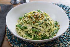 Fresh Fettucine Pasta with Sugar Snap Peas & Arugula Pesto. Visit https://www.blueapron.com/ to receive the ingredients.