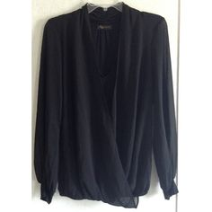 Draped Chiffon Faux Wrap Blouse Excellent condition! Few loose threads. Really cute KLD Signature blouse. Faux wrap style with draped chiffon front. Fully lined with an attached v-neck shirt. Sheer chiffon sleeves with solid cuffs. Loose elastic around the hem. Solid black fabric back with some ruching at the top. Size medium. +All offers welcome Boutique Tops Blouses