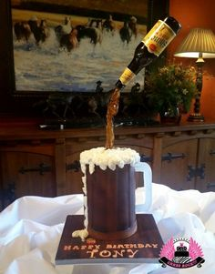 Shiner Bock Gravity-defying Beer Mug Cake