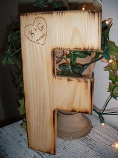 Customized Wood Initial - Wedding Guest Book