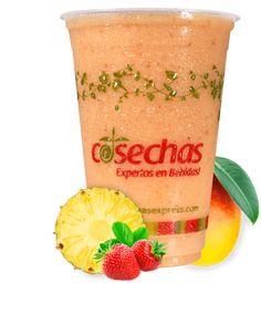Mango – Fresa – Piña Mojito, Dunkin Donuts Coffee, Spanish Food, Coffee Cups, Mango, Strawberry Juice, Pineapple Juice, Cape Gooseberry, Juices