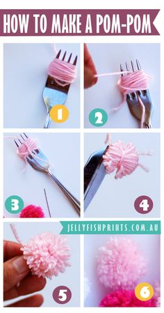 how to make a pom pom with a fork and wool or yarn. sooo old skool. there is also tutorial for a pompom garland.