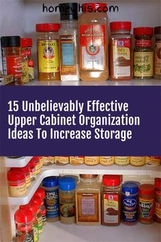 Low on kitchen cabinets storage space? Have trouble finding what you need? Here are 15 organization ideas that'll keep your cabinet clutter free and looking organized. If you love to cook, then you'll surely find these tips useful.Start organizing your upper and lower cabinets now with these 15 organization ideas! #homewhis #cabinetorganization #homeorganization #pantryorganization #spiceorganization #declutter Cabinet Spice Rack, Spice Drawer, Low Cabinet, Kitchen Cabinet Organization, Small Kitchen Organization, Fridge Organization, Organization Ideas, Organizing, Spice Holder