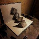 It looks 3D, doesn't it? Nope, simply a sketch on a flat surface.  Gallery - NAGAI HIDEYUKI ART