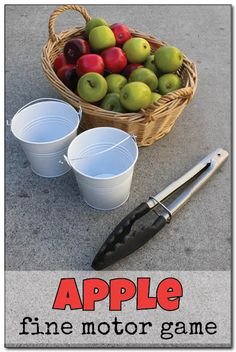 A fun apple fine motor game where kids must race to fill their apple pails as quickly as possible using only a pair of kitchen tongs! A great activity for a preschool apple unit. || Gift of Curiosity