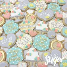 """327 Likes, 10 Comments - Lyndsie Hays (@sugarbylyndsie) on Instagram: """"Bridal shower cookies! 👰🏼💍💗 """"Acres and oceans"""" is something the couple says to each other 😊…"""""""