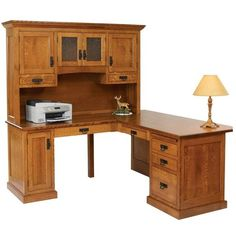 Amish Homestead Mission Corner Desk with Optional Hutch Top ($2,163) ❤ liked on Polyvore