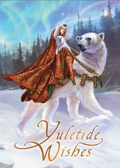 Queen of the Aurora Bears : Yule/Winter Solstice : Cards by Occasion / Recipient : Home : Pagan/spiritual and fairy/fantasy greeting cards, prints and gifts at Moondragon Pagan Christmas, Christmas Fairy, Xmas Cards, Greeting Cards, Teddy Bear Cartoon, Beautiful Christmas Cards, Fantasy Dragon, Fantasy Art, Cute Dragons