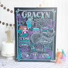 Mermaid Birthday Chalkboard first birthday by ChalkityChalk