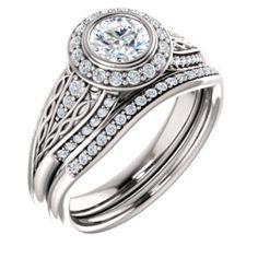 14K White  5.2mm Round Engagement Ring Mounting