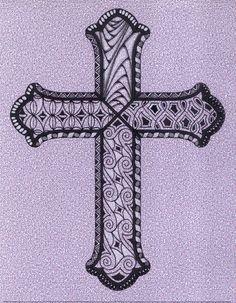 https://flic.kr/p/bBnX8L | open cross zentangle | Zentangle after drawing outline using Dreamweaver Stencils LJ918 Open cross.
