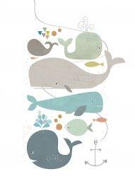 Paper Moon` Prent A5 Happy Whales`