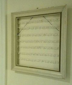 DIY lace earring organizer in a shabby old picture frame!