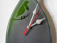 clock, Kereru Bottle Clock (Wood Pigeon) Wood Pigeon, Glass Art, Bottles, Clock, Creative, Artist, Watch, Jar Art, Clocks