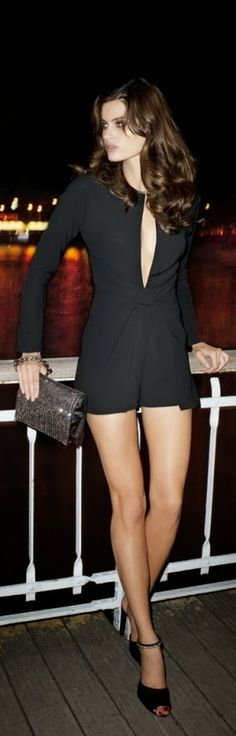 Black Long Sleeve Dress With Black Heel Shoes --  Get $100 worth of beauty samples