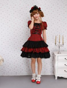Cotton Short Sleeves Black And Red Shepherd Check School Lolita Dress
