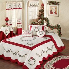 Holly Wreath Quilted Oversized Holiday Bedspread