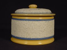 1800s BLUE & WHITE BAND BUTTER CROCK