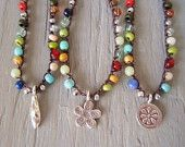 Colorful crochet necklace 'Lucky Charms- Multi ' multi color glass & stone, Thai silver, flower, elephant, Southwest boho, PICK YOUR CHARM