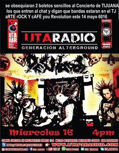 Quieren cortesías para ver a Desviados Punk...??? Ellos estarán en vivo y en directo en UTA RADIO este miércoles 16 de marzo a las 2:00 pm Hora de Tijuana  escucha un poco de DESORDEN Y CAOS VERBAL.... SE OBSEQUIARAN 2 BOLETOS SENCILLOS para el concierto en Tj Art & Rock@You Revolution  La mecánica es la siguiente .A LOS QUE ENTREN AL CHAT Y DIGAN ALGO SIMPLE Y SENCILLO SOBRE LAS  BAnDAS QUE COMPARTIRÁN ESCENARIO CON ELLOS EL SÁBADO 14 DE MAYO DEL 2016  GANAN AL INSTANTE !!! SITIO WEB…