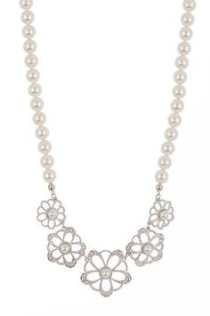 Swarovski Ruffle Crystal Pearl Necklace