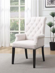Phelps Upholstered Arm Chair Beige and Smokey Black - Coaster Fine Furniture Dining Arm Chair, Upholstered Dining Chairs, Tufted Chair, Furniture Chairs, Fine Furniture, Swivel Chair, Luxury Furniture, Furniture Ideas, Industrial Office Chairs