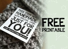"Free Craft Printable Label: ""This Item Was Handmade With Care, Just For You!"" 