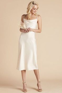 As you prepare to say I do next to the glimmering turquoise water, check out our guide to destination wedding and beach wedding dresses. White Satin Dress, Satin Midi Dress, White Midi Dress, Satin Dresses, White Silk, Slip Wedding Dress, Wedding Dresses, Cocktail Wedding Dress, Cowl Neck Wedding Dress