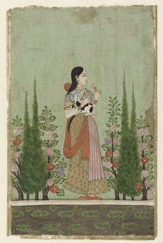 Anonymous | Girl holding a Calf, Anonymous, 1700 - 1750 | Een vrouw met een kalfje onder haar rechterarm in een tuin met bloeiende struiken en cypressen. In haar linkerhand houdt zij een bloem.