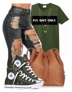 """""""I keep Mascara in my Pocket,if I run into the Market.Cause you neva know Who's watching You"""" by bria-queen-ovoxo ❤ liked on Polyvore featuring Sophie Hulme, Converse and Gorjana"""