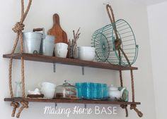 DIY Wall Shelving - love the simple addition of the rope that gives it so much character!
