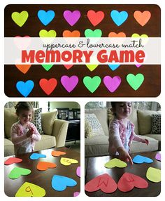 Letter Match & Memory Game - cute for Valentine's Day or using other shapes for any day. #ECE