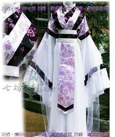 China Hanfu Purple Dress white Kimono