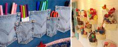 Organizar a casa e ainda enfeitar as paredes é uma das ideias que Yvone Pereira ensina em seu blog, o Casas Possíveis. Inspire-se nos cestos para guardar brinquedos ou no porta-lápis feito de bolsos de jeans e mãos à obra!