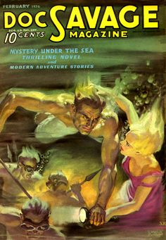 Doc Savage Walter Baumhofer, 1936 pulp cover art girl woman dame underwater drown swim grab grasp speargun foreign exotic danger