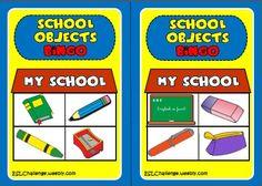 School objects - bingo cards
