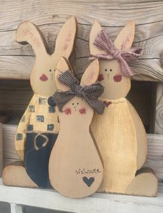 Primitive Easter Bunny Trio by Cards4Charlie on Etsy