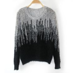 Black Mohair Sweater in Gradient Color