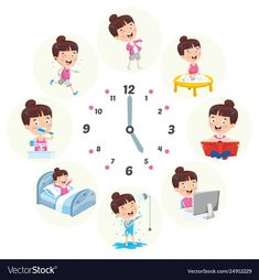 Vector Illustration Of Kids Daily Routine Activities , - Carola Tracing Worksheets, Preschool Worksheets, Daily Routine Activities, Activities For Kids, Chibi Sketch, Education Positive, Displaying Collections, Cartoon Kids, Vector Free
