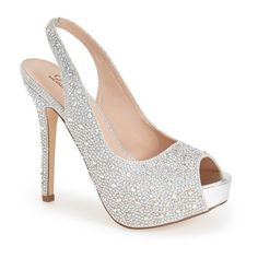 Women's Lauren Lorraine 'Candy' Crystal Slingback Pump (2.830 UYU) ❤ liked on Polyvore featuring shoes, pumps, heels, sapatos, high heels, silver sparkle, high heeled footwear, high heel slingback shoes, sling back pumps and crystal pumps
