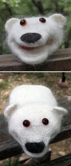 Free Knitting Pattern for Polar Bear Puppet - Hand puppet that is knit like a sock and felted in the washing machine. Designed by Susan Prince Animal Knitting Patterns, Puppet Patterns, Crochet Patterns, Doll Patterns, Hand Knitting Yarn, Free Knitting, Knitting Machine, Thread Crochet, Crochet Yarn