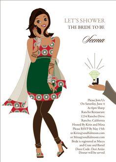Bashful Diva Indian Bridal Shower Invitations by #Soulfulmoon
