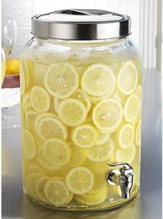 Home Essentials Glass Cold Beverage Dispenser Jug, 6 Quart