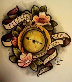 compass tattoo i want. except for the scrolls. beautiful colors