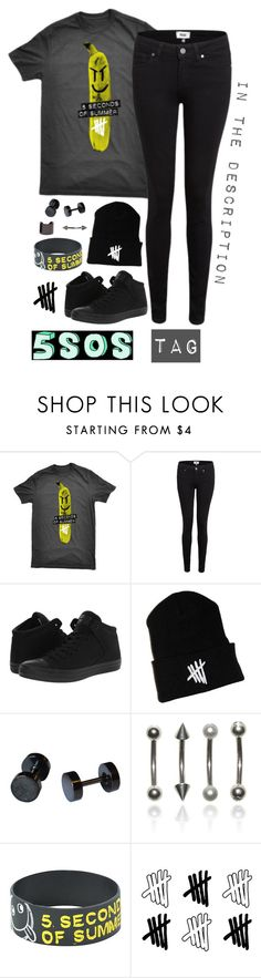 """""""5sos tag in the description"""" by alex-bows ❤ liked on Polyvore featuring Paige Denim, Converse and Luv Aj"""
